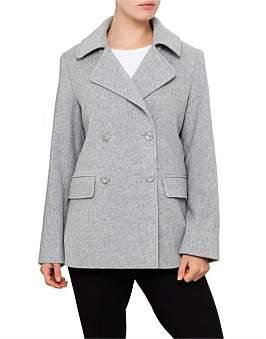 David Jones Grey Wool Peacoat
