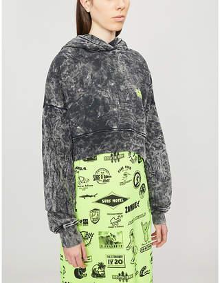 Amiri Star-print faded cropped cotton hoody
