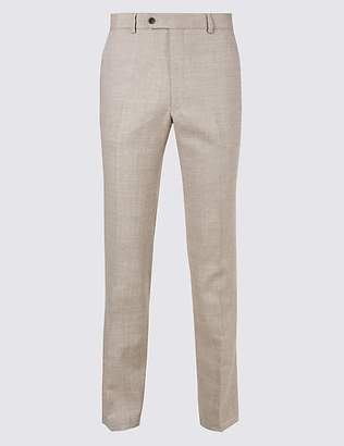 M&S Collection Big & Tall Linen Miracle Flat Front Trousers