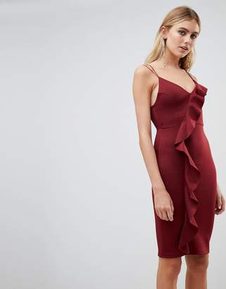 New Look frill bodycon dress in burgundy