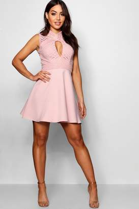boohoo Lace Cut Out Detail Skater Dress