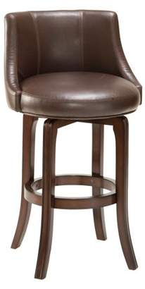Hillsdale Furniture Napa Valley Swivel Counter Stool, Dark Brown Cherry Finish and Brown Bonded Leather