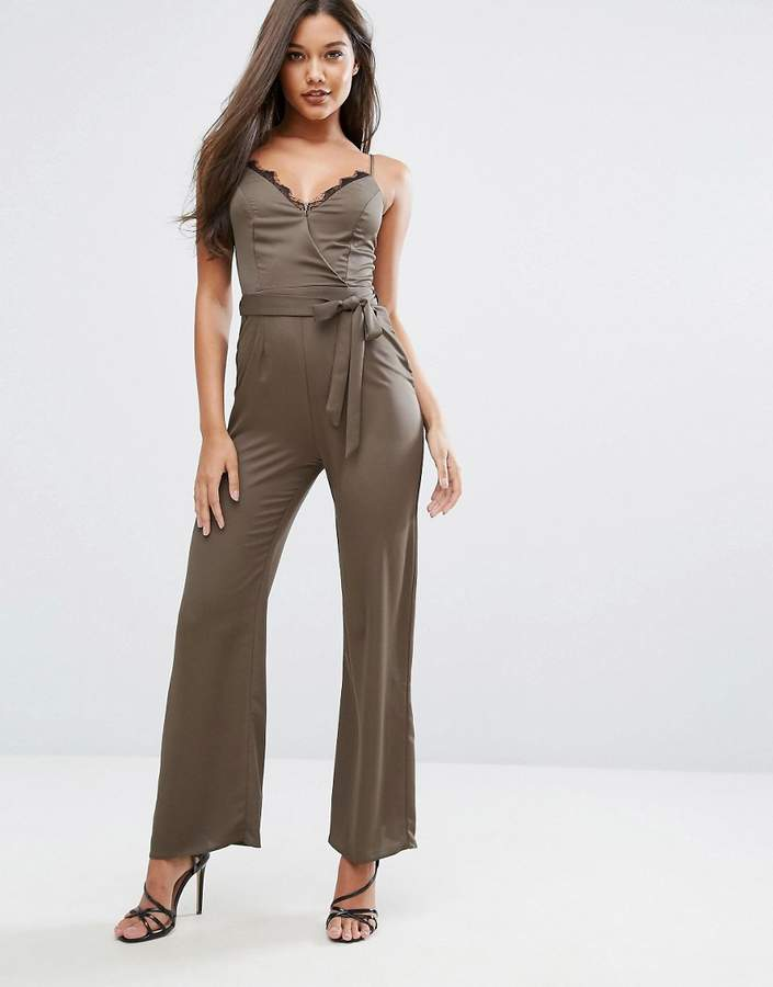 Michelle Keegan Loves Lipsy Satin Jumpsuit With Lace Insert