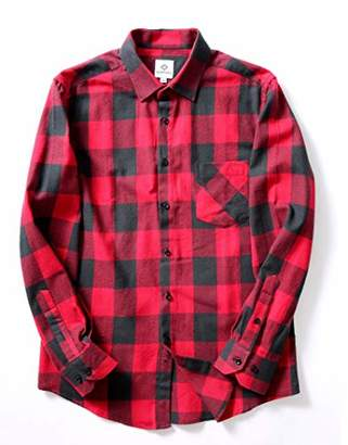 Boxpleats Men's Button-Down Woven Yarn Dyeing Check Casual Shirt-Red & Black X-Large