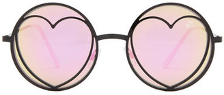 Betsey Johnson Women&s Round With Heart Sunglasses $40 thestylecure.com