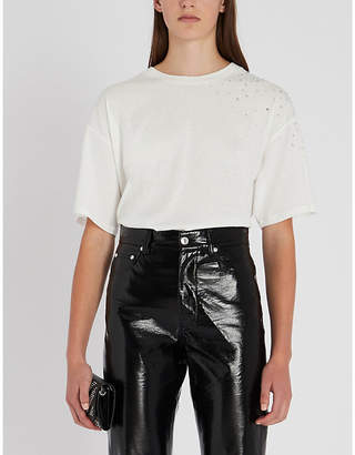 The Kooples Crystal-embellished cotton-jersey T-shirt