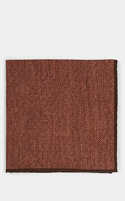 Paolo Albizzati Men's Herringbone Wool-Cotton Pocket Square - Orange