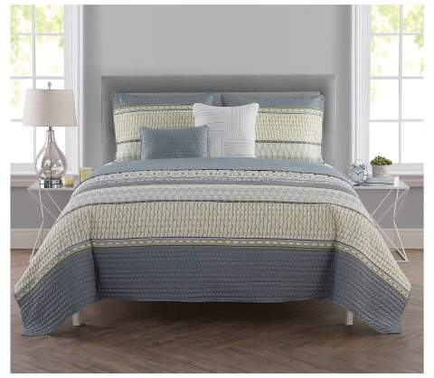 VCNY Green & Blue Aiden Printed Stripe Quilt Set