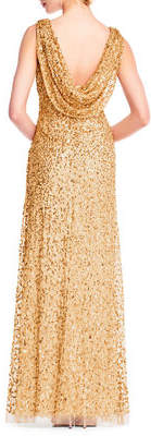 Adrianna Papell Beaded Cowl-Back Sleeveless Gown