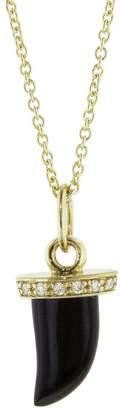 Sydney Evan Black Onyx Horn Necklace - Yellow Gold