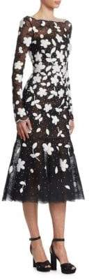 Oscar de la Renta Floral Sequin Midi Sheath Dress