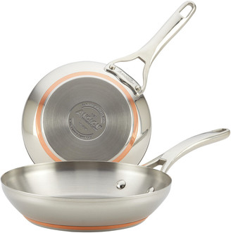 Anolon Set Of 2 Nouvelle Copper Stainless Steel French Skillets