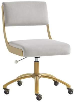 Pottery Barn Teen Velvet Gray with Gold Base Boomerang Desk Chair