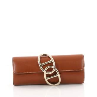 Hermes Egée leather clutch bag