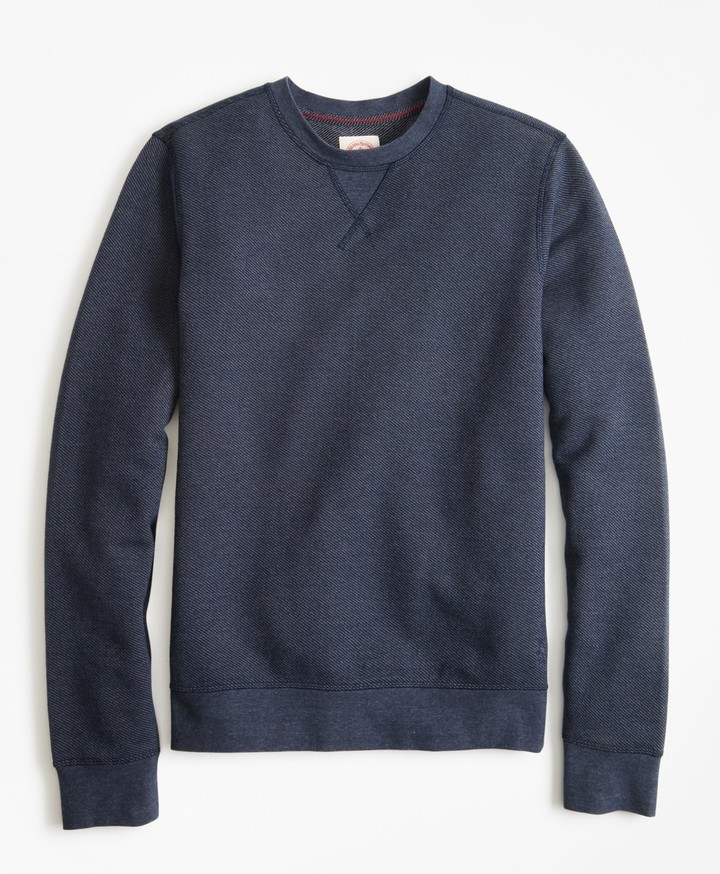 Brooks Brothers Textured Stripe Crewneck Sweatshirt