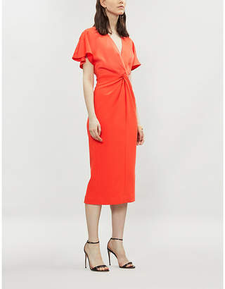 Ted Baker Knotted front V-neck crepe bodycon dress