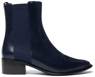 Loewe Point Toe Suede And Leather Chelsea Boots - Womens - Navy