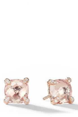 David Yurman Chatelaine(R) Morganite 18k Rose Gold Stud Earrings with Diamonds