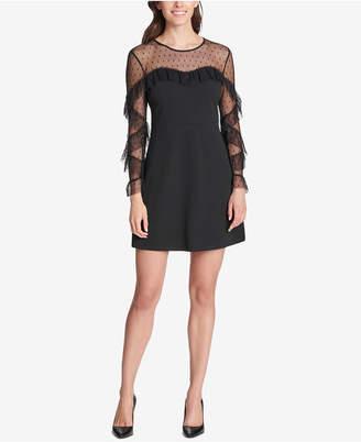 Kensie Swiss-Dot Ruffled Sweetheart Dress