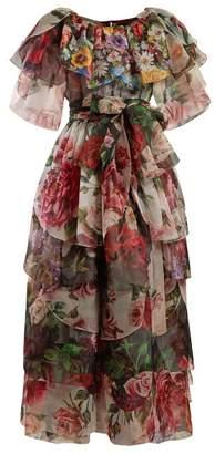 Dolce & Gabbana Floral Print Tie Waist Ruffled Silk Gown - Womens - Black Multi