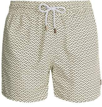 Retromarine - Zigzag Print Swim Shorts - Mens - Cream Multi