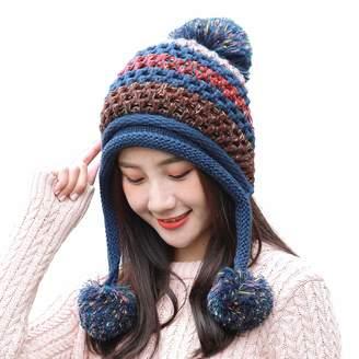 5aeb6c8d66025 HUAMULAN Women Winter Thick Beanie Hat Ski Ear Flaps Caps Dual Layered