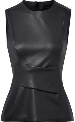 Narciso Rodriguez Gathered Leather Top - Midnight blue