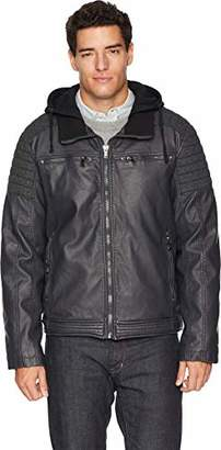Sean John Men's Mixed Media Biker Jacket with Hood