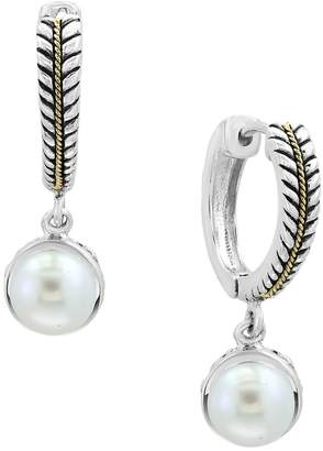 Effy Sterling Silver and 18K Yellow Gold 7mm Cultured Freshwater Pearl Drop Earrings