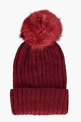 boohoo Womens Lily Tipped Faux Fur Pom Beanie in Wine size One Size