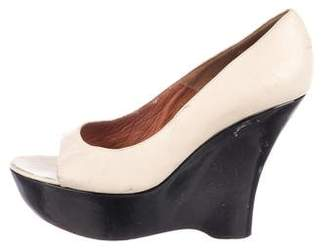 Lanvin Leather Peep-Toe Wedges