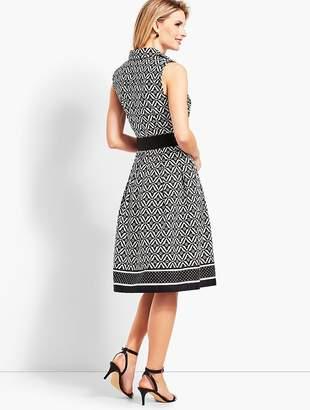 Talbots Sleeveless Fit-And-Flare Geo-Diamond Shirtdress