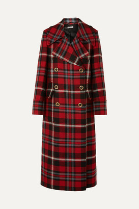 Miu Miu Oversized Tartan Wool Coat - Red