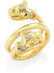 Temple St. Clair Double Mummy Lion Cub Diamond& 18K Yellow Gold Ring
