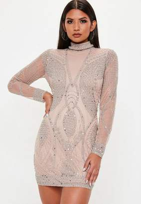 Missguided Nude Premium High Neck Beaded Dress