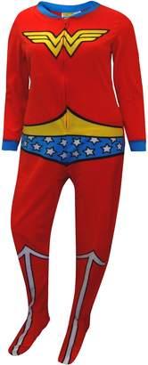 Briefly Stated Wonder Woman Fleece Junior Cut One Piece Footie Pajama for women