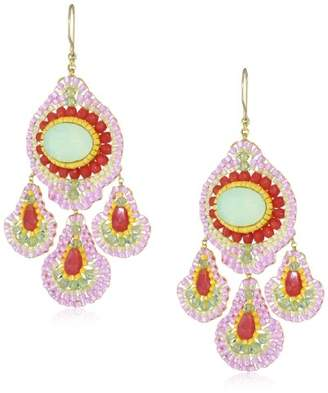 Miguel Ases Cherry Quartz Oval Drop Earrings