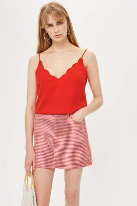 Topshop Red Scallop Camisole Top