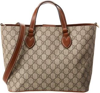 Gucci Brown Gg Supreme Canvas & Leather Handbag With Strap