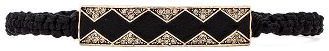 House Of Harlow Leather Diamondhead Macrame Bracelet