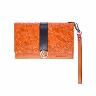 Drew Lennox Orange & Black English Leather Clutch Bag Travel Wallet