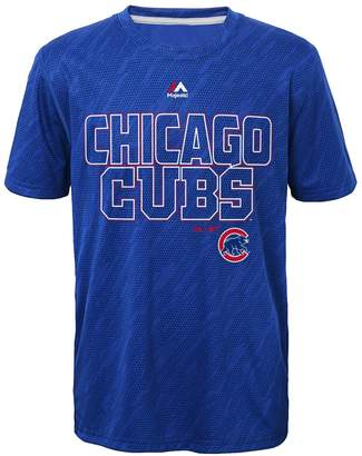 Majestic Boys 8-20 Chicago Cubs Geo Fuse Sublimated Cool Base Tee