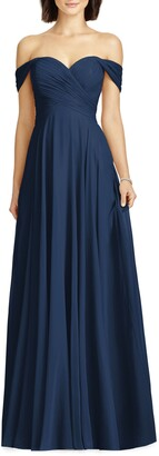 Dessy Collection Lux Ruched Off the Shoulder Chiffon Gown