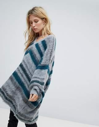 Religion oversized drapey jumper in stripe