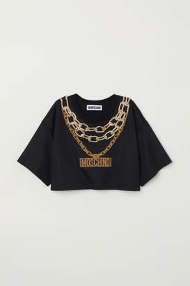 H&M Short Top with Appliques - Black