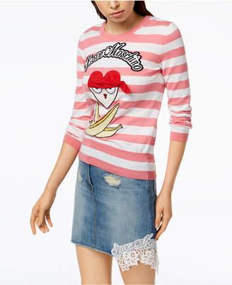 Love Moschino Striped Cotton Pirate-Appliqué Sweater
