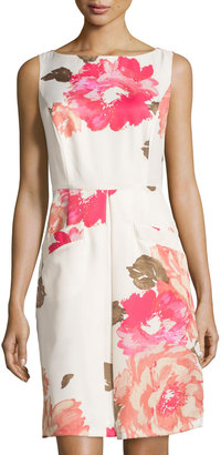 Donna Morgan Sleeveless Dress with Pleat Detail, Whitecap Multi $99 thestylecure.com