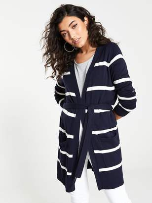 Very Edge To Edge Stripe Belted Cardigan - Navy Cream