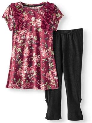 ONE STEP UP Floral Ruffle Tunic & Knit Denim Legging, 2-Piece Outfit Set (Little Girls & Big Girls)