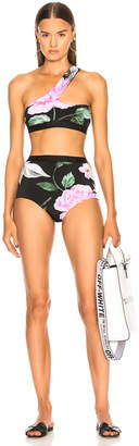Off-White Off White Floral One Shoulder Bikini Set